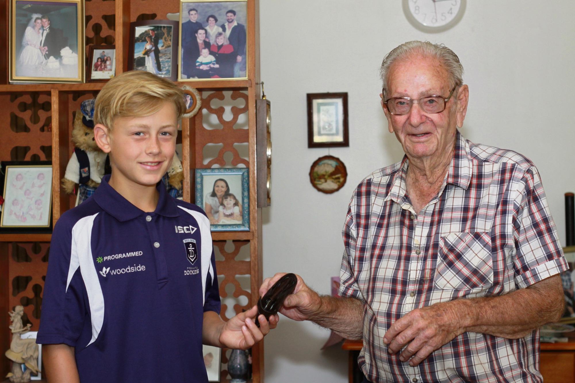 Seth Goddard (13) with Burt Sellin (91).