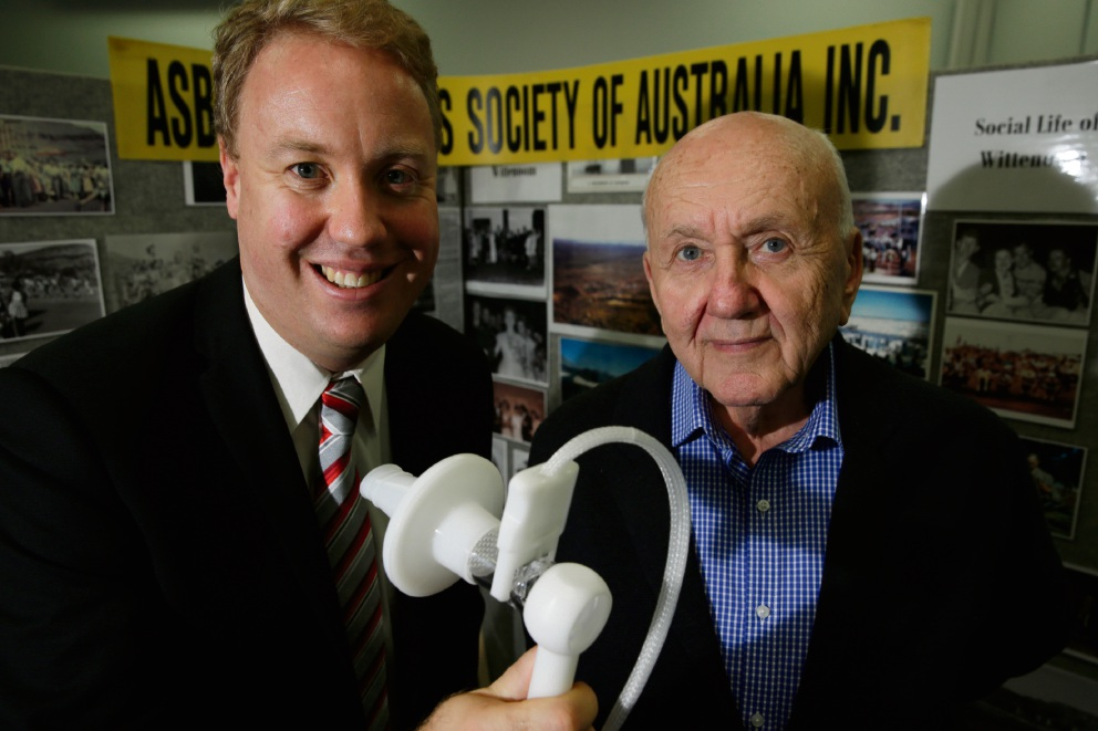 Member for Balcatta David Michael and Robert Vojakovic (President ADSA) with a new breathing maching (Spirometer) which will help patients with asbestos related diseases. Picture: Andrew Ritchie