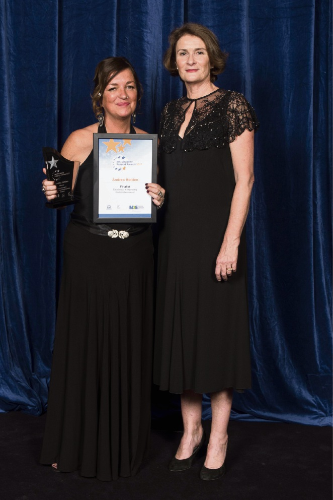 Andrea Holden (left) with award presenter Miriam Borthwick.