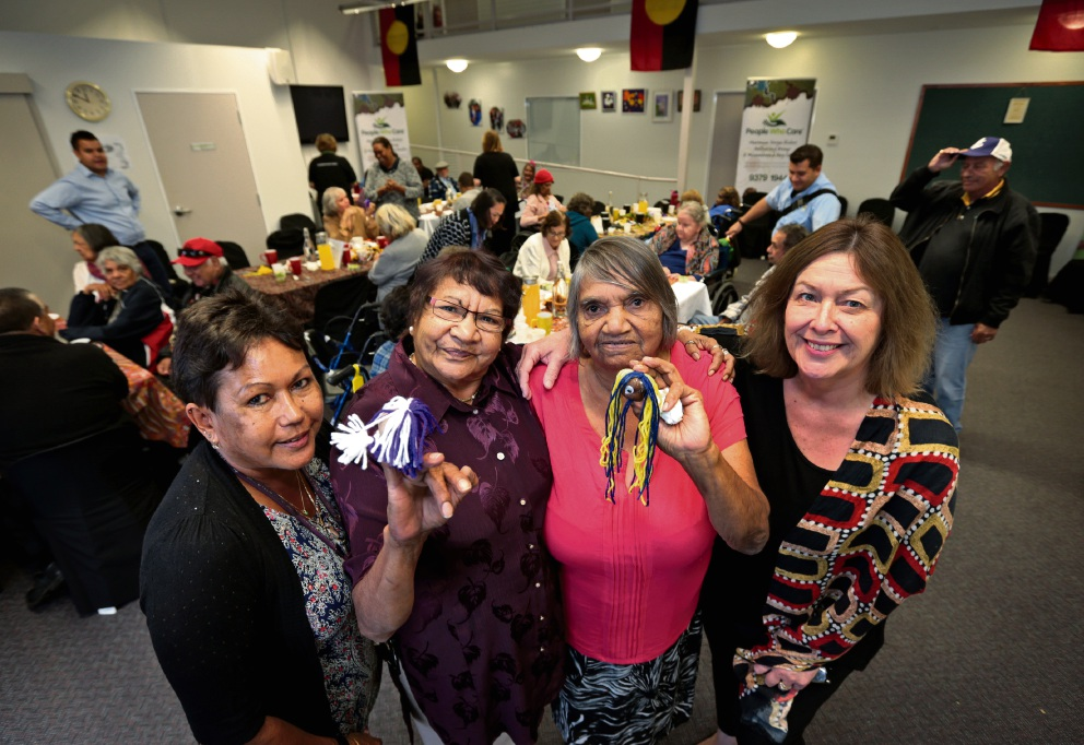 Hall and Prior Aboriginal co-ordinator Wendy Ashwin, elders Dulcie Ponton and Muriel Bowie and People Who Care chief executive Ali White. Picture: David Baylis