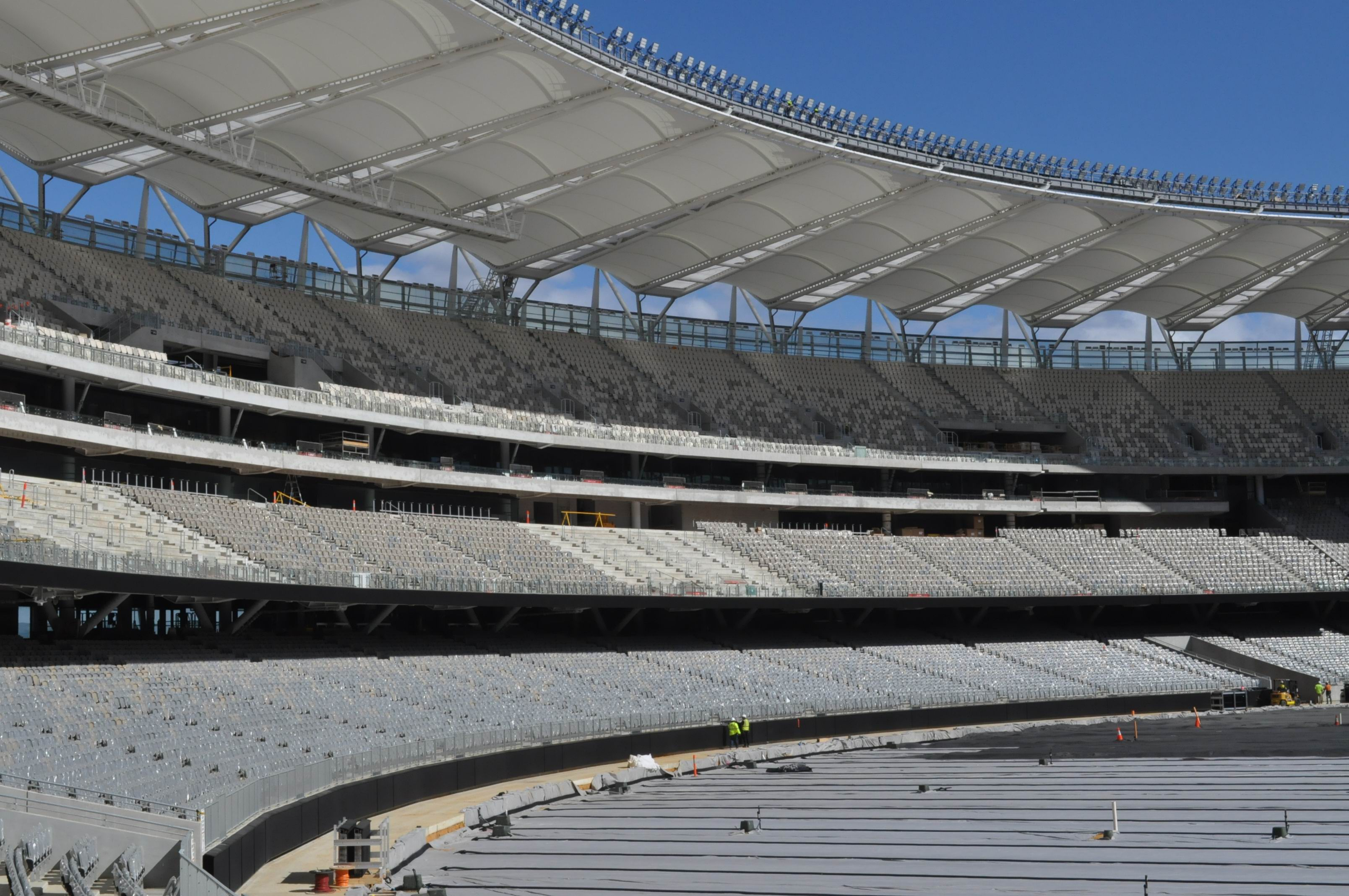 Perth Stadium is nearing completion. Pictures: Aaron Corlett