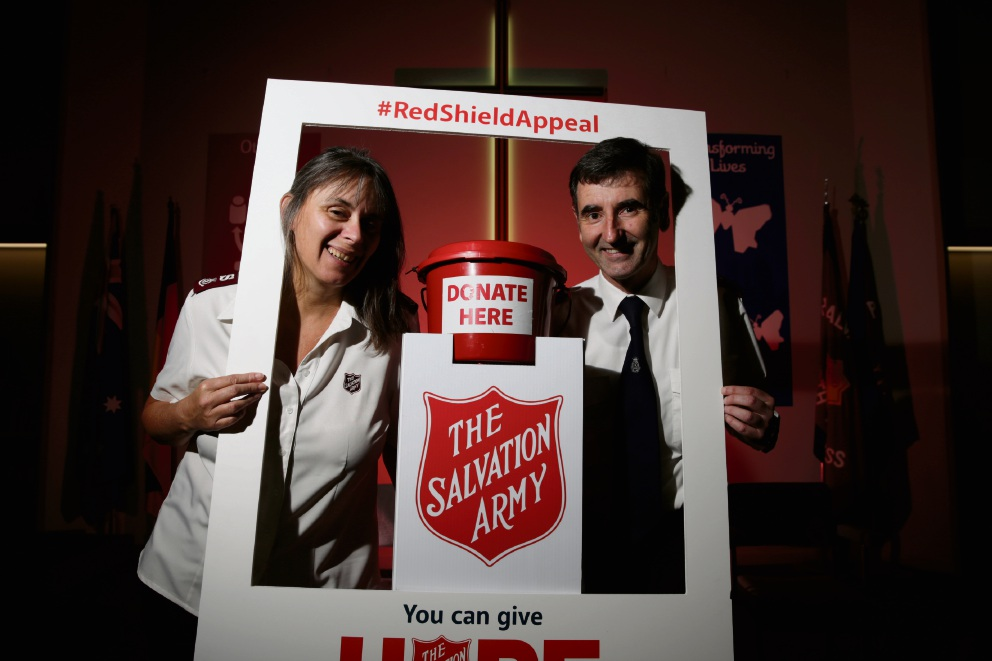 Major Wendy Hateley and Major Paul Hateley pose for this year's Red Shield appeal. Picture: Andrew Ritchie