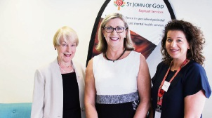 Professor Bryanne Barnett AM, Clinical Director Raphael Services Blacktown; Helen McAllister, Director Raphael Services and Donna Adams, Raphael Services Manager WA at the official opening of the WA Hub in Wembley.