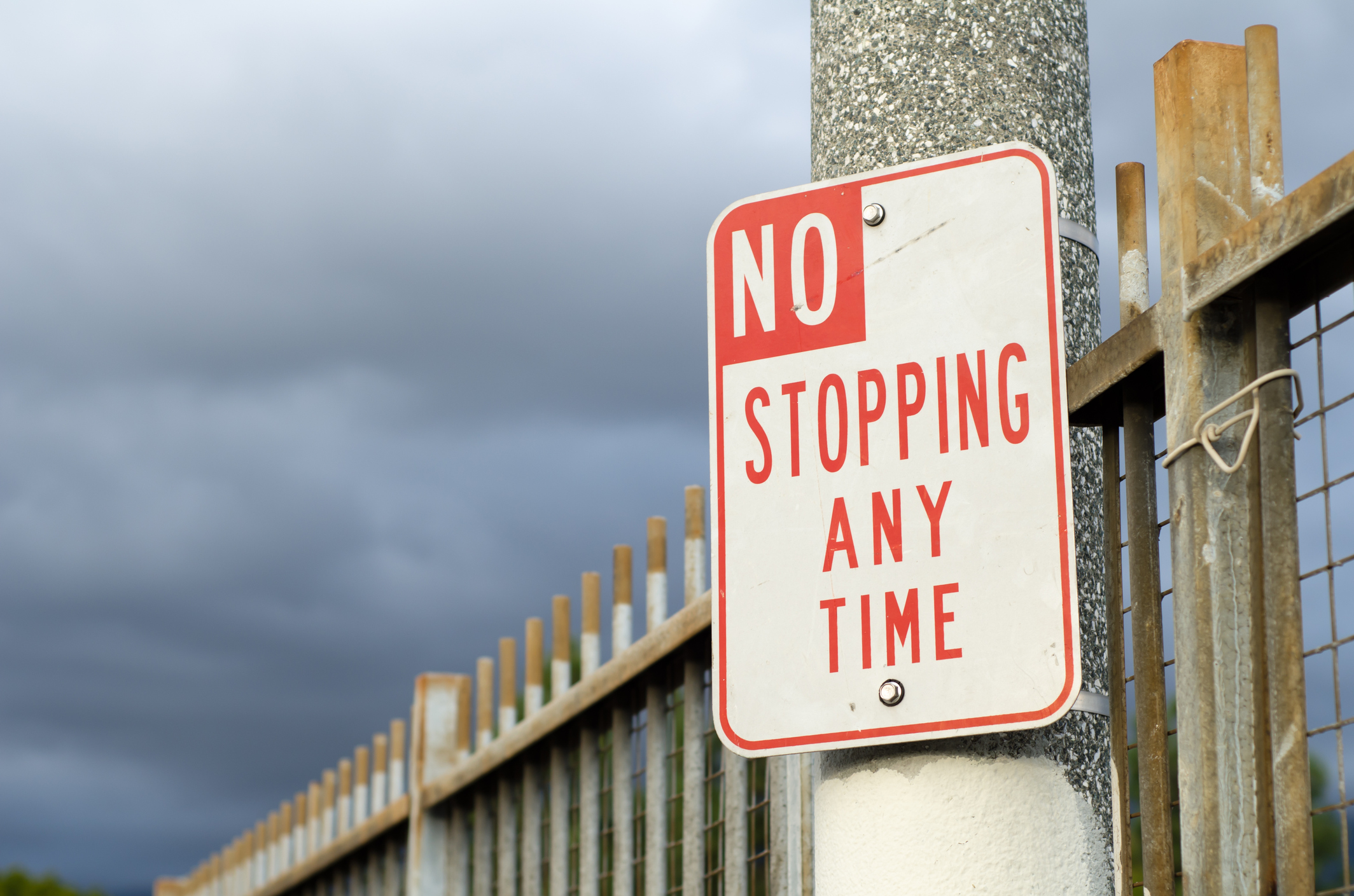 A 'No Stopping' sign will be erected at Forrestdale PS to stop cars parking on verges. Stock image.