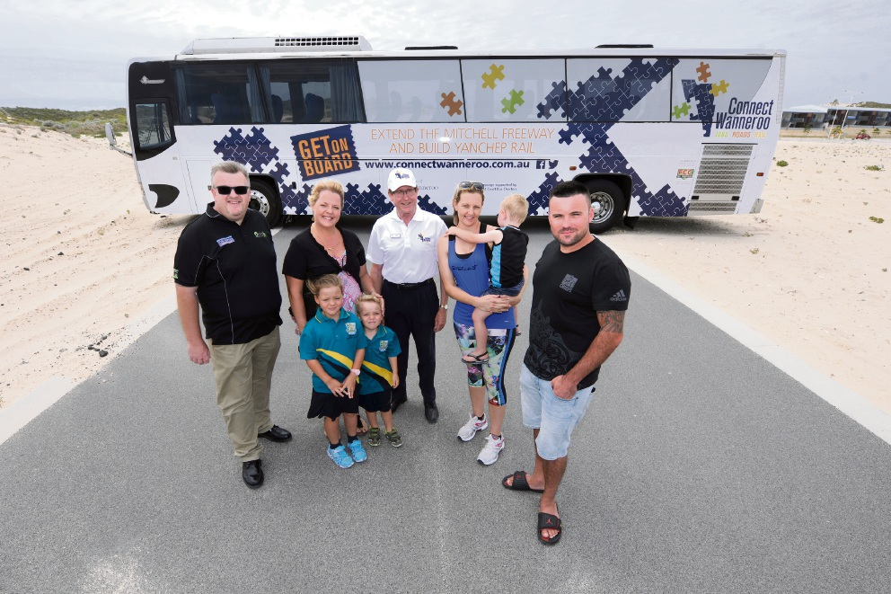 Residents supported the Connect Wanneroo campaign, including Gary Duffield of Alkimos, Adena Leach of Yanchep with children Kayleigh and Daniel, campaign bus driver Peter Jackson, Natasha Tolley with son Benaiah from Alkimos and her neighbour Jeremy Francis.