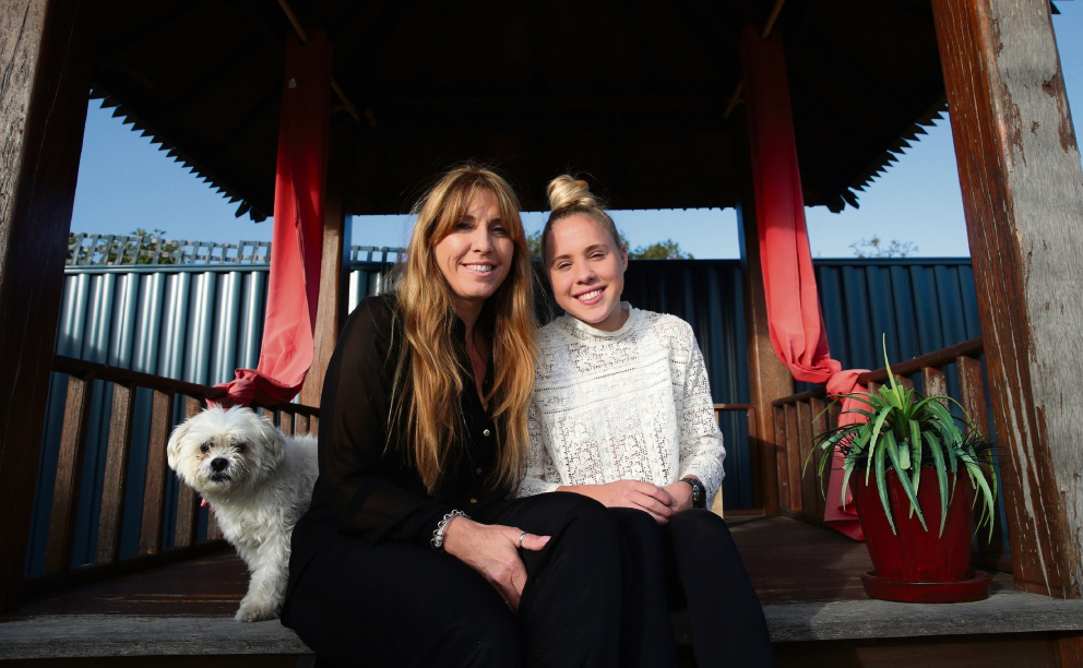 Maria Tana with her daughter Jayde Kinane and their dog Milko.  Picture: Martin Kennealey        www.communitypix.com.au   d469015