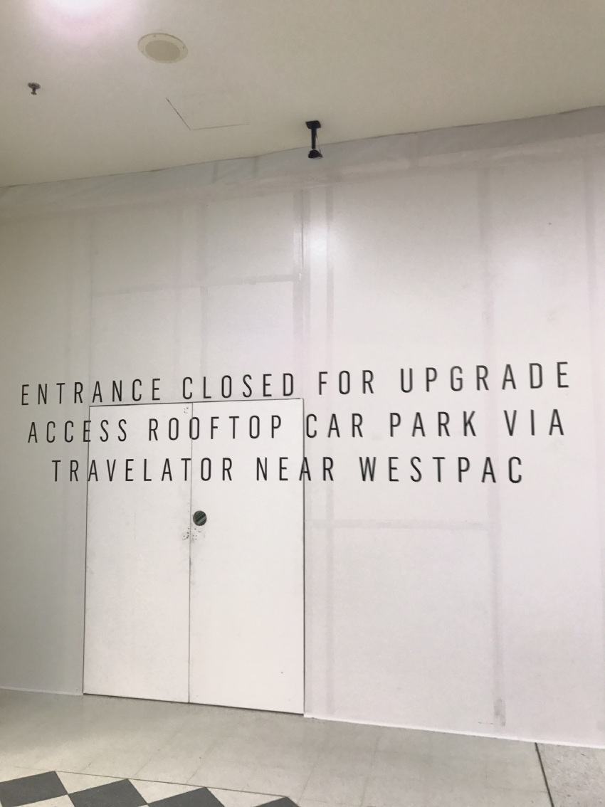 A good sign that the redevelopment may be beginning: Westfield Innaloo's western rooftop closure.
