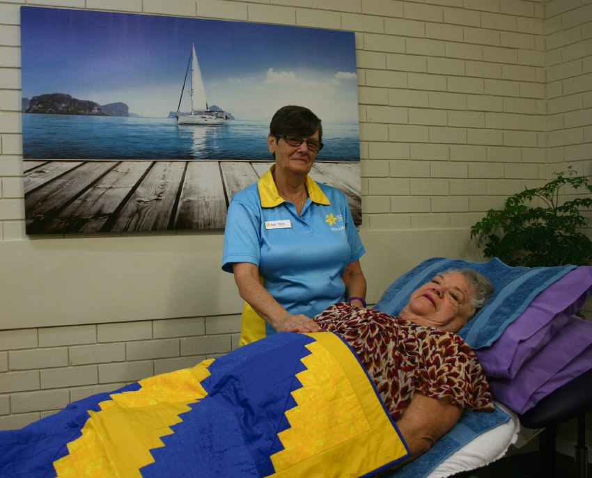 Carer Coral Henwood with Reiki therapist Brenda Kirkeberg.