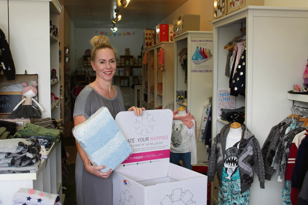 Stork's Corner owner Melissa Vajda's store became a collection point for unused nappies several years ago after she was approached by a customer.