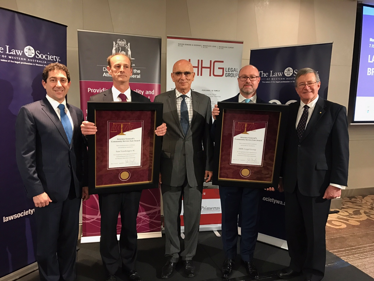 (L-R) Law Society of WA President Alain Musikanth, Sam Vandongen SC (Francis Burt Chambers), Attorney-General John Quigley, Murray Thornhill (HHG Legal Group), Chief Justice  Wayne Martin AC.