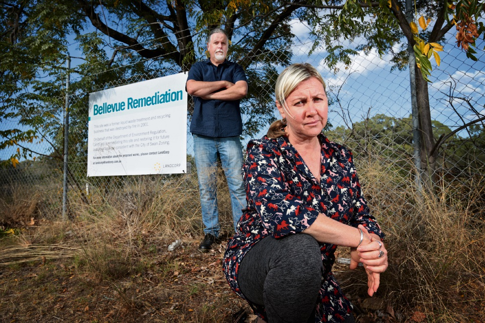 Jane Bremmer and Lee Bell at the former Bellevue Waste Control site... they are members of the National Toxics Network and the Alliance for a Clean Environment group. Picture: David Baylis        www.communitypix.com.au   d469055