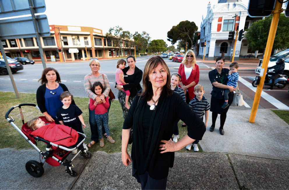 Guildford Association president Barbara Dundas with other concerned locals at the intersection in the area where the McDonald's was to be built .  Picture: David Baylis        www.communitypix.com.au   d469016