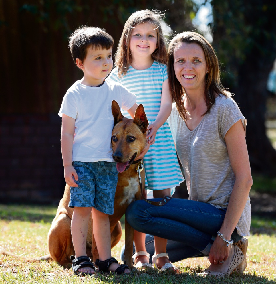 Sarah Zuchetti with her children Ava, Seth and their dog Bender. Picture: Martin Kennealey           d468432