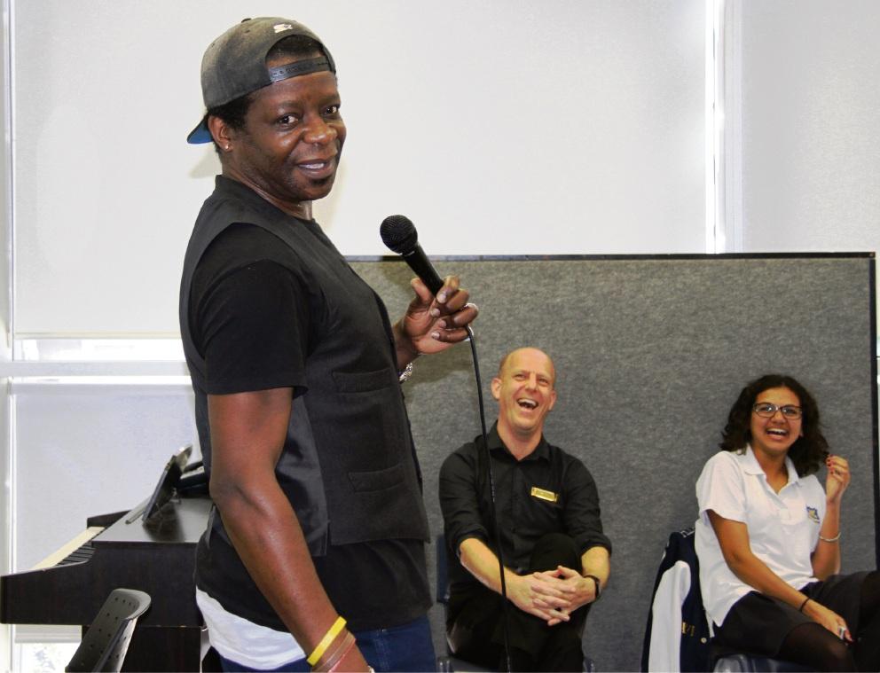 British comedian Stephen Amos visit Perth Modern School.