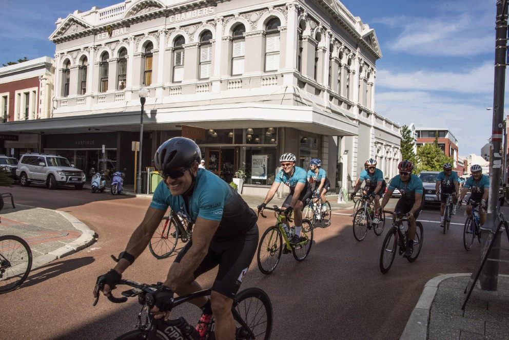Some of the  Ride for Sick Kids cyclists rolling into Fremantle recently.
