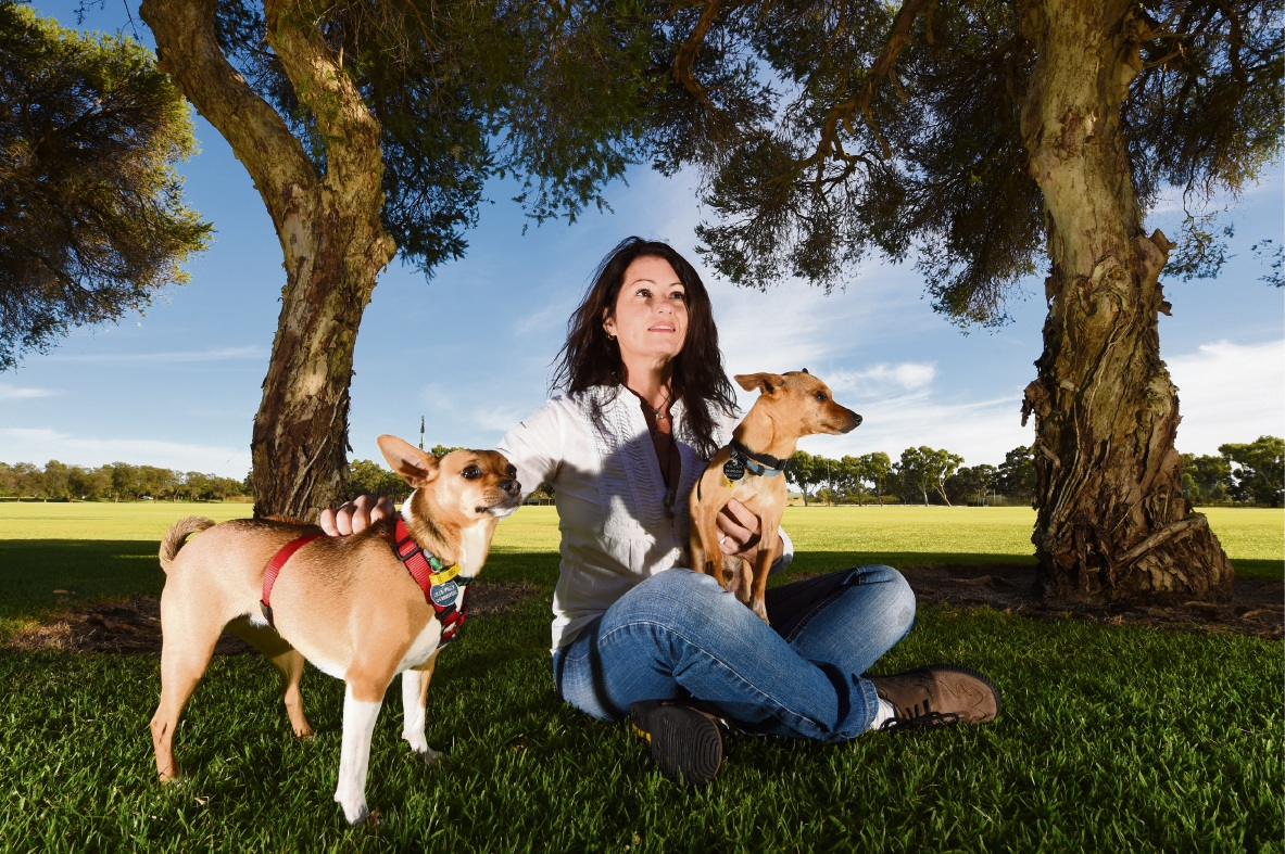 Michelle Mann with her dogs Radar and Lilly Pilly. Picture: Jon Hewson    d468660