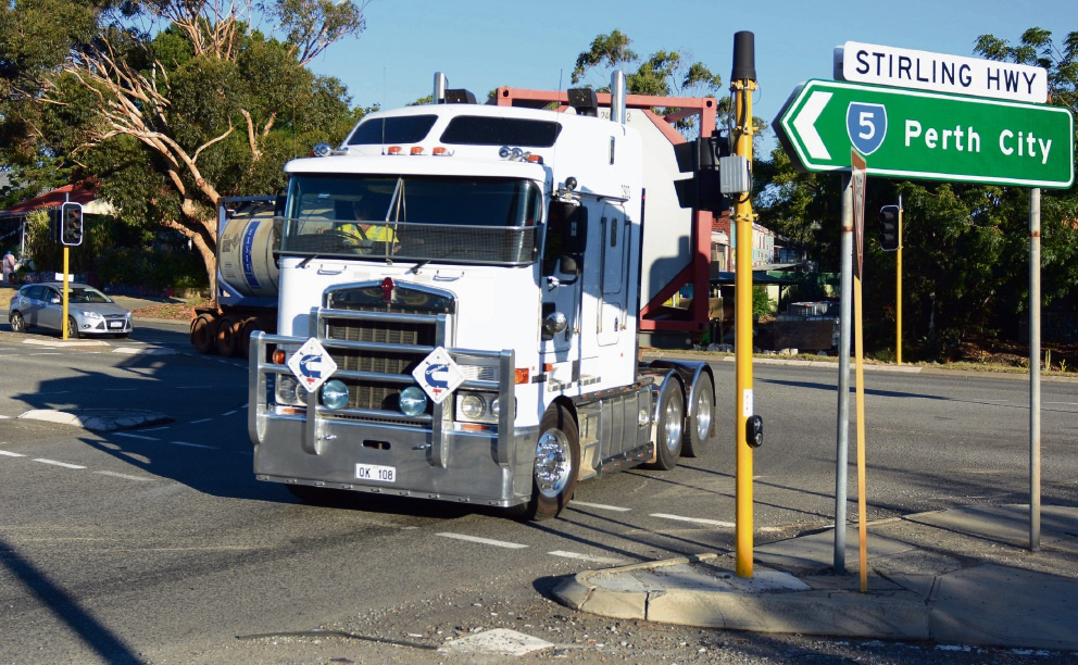 Truck and cars mix at the Stirling Highway-High Street intersection. Picture Jon Bassett