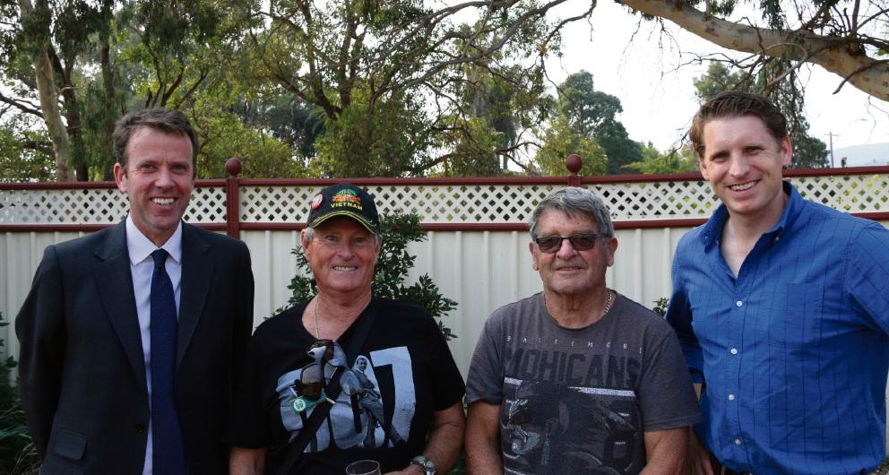 Veteran Affairs Minister Dan Tehan, veterans Rick Ryan and John Carter and Canning MHR Andrew Hastie.