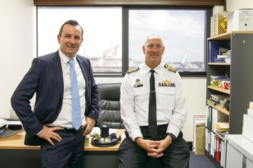 Premier Mark McGowan and HMAS Stirling commanding officer Captain Brian Delamont in the office where he worked as a navy legal officer in the early 1990s.