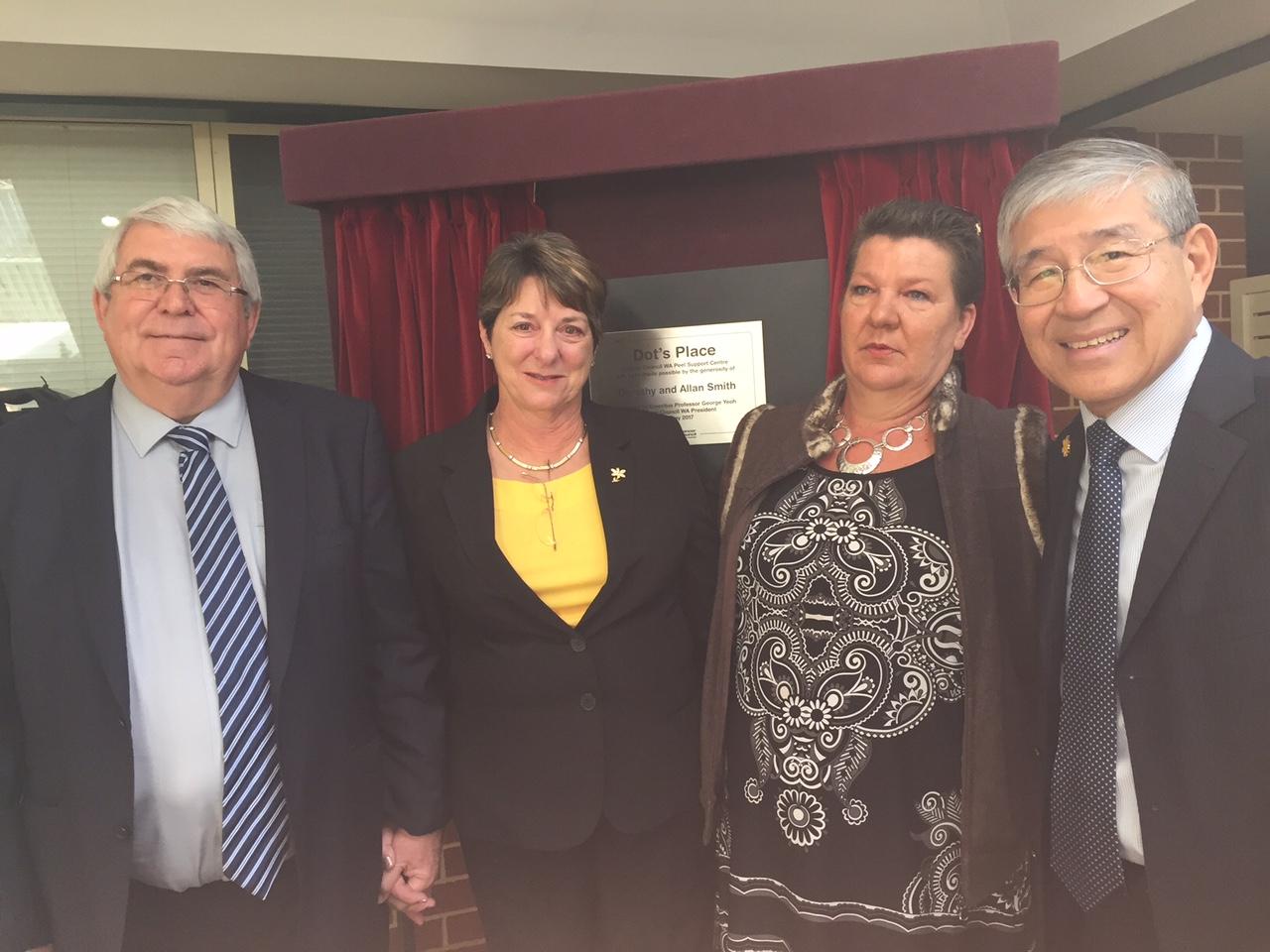 John and Dorothy Smith, Vanessa Elyward and Professor George Yeoh.