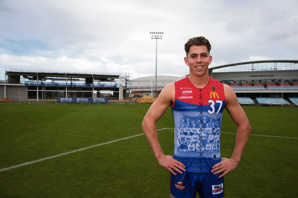 Tyler Keitel in the commemorative jumper West Perth will play in this Saturday. Picture: Martin Kennealey d469288