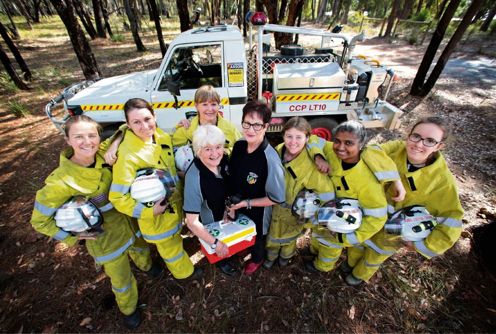Sawyers Valley Volunteer Bush Fire Brigade members Jen O'Hehir, Michelle Van Den Dungen, Delphine Wilson (back), Lynne Strang (in black), Jennifer Gardiner (in black), Tina Merrybard, Mirline Dzieciol and Shayla Russo. Picture: David Baylis