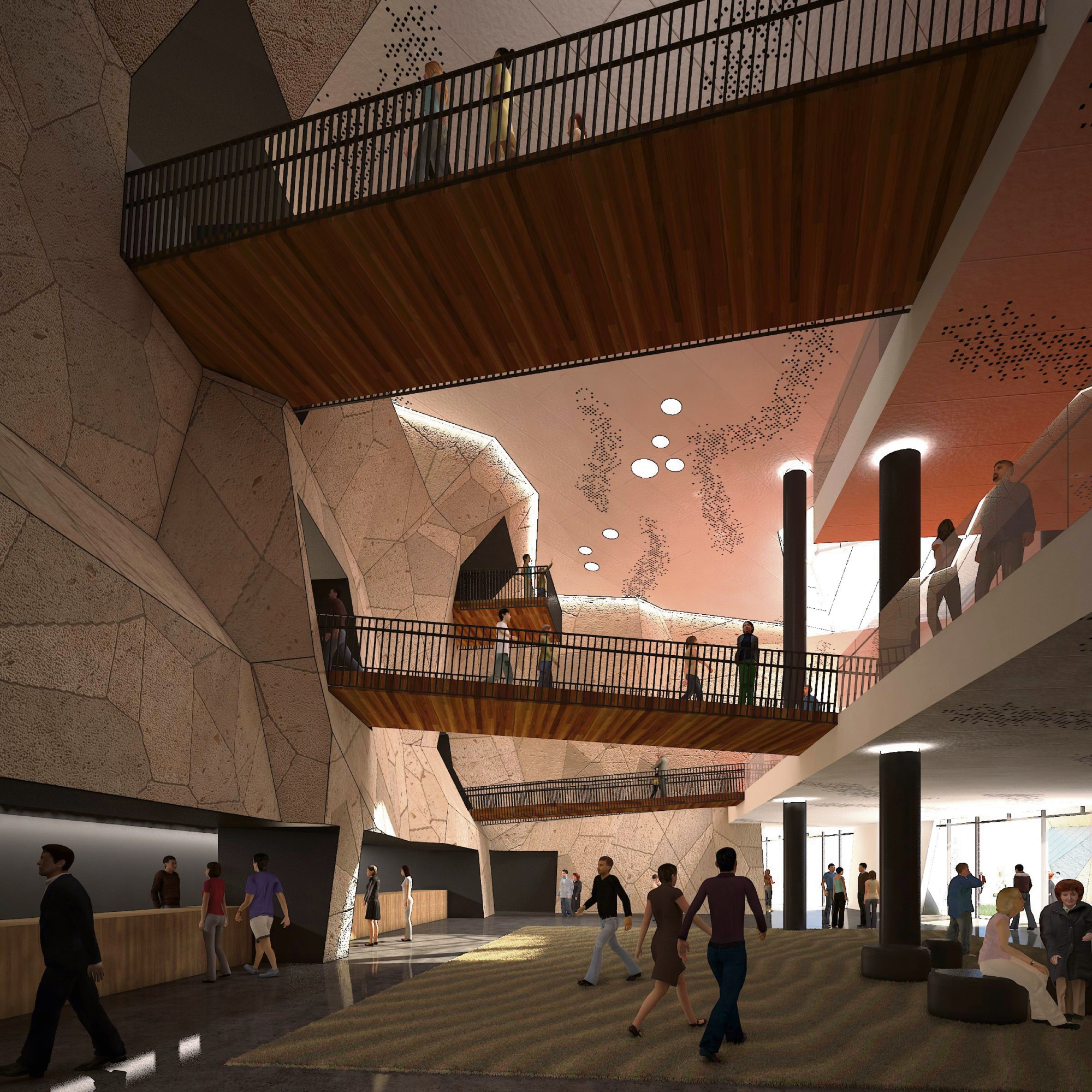 An artist's impression of inside the proposed Joondalup performing arts centre.