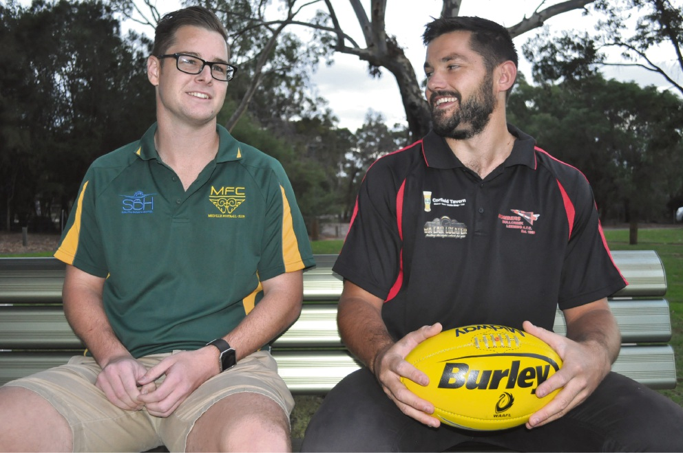 Melville Rams captain Shaun Stedman and Bull Creek Leeming counterpart Fraser MacDougall are looking forward to the inaugural Beyond Blue fundraising round between the two sides on June 3.