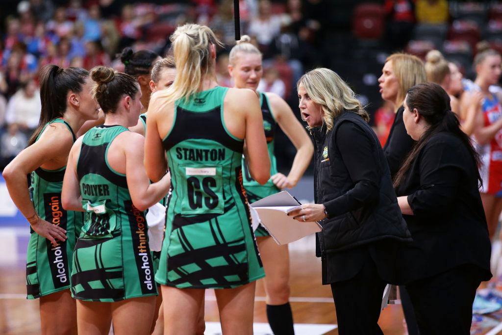 West Coast Fever coach Stacey Marinkovich talks to her players during a time out. Picture: Matt King/Getty Images