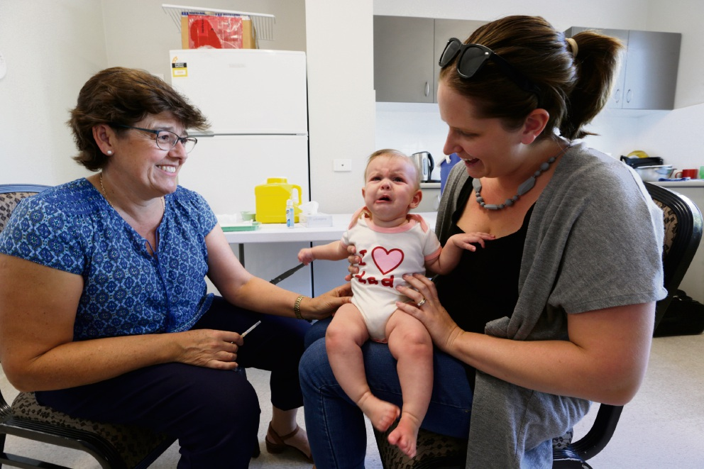 Dr Leanne Hosking with Jodie Quader and daughter Riley from Morley. Picture: Andrew Ritchie