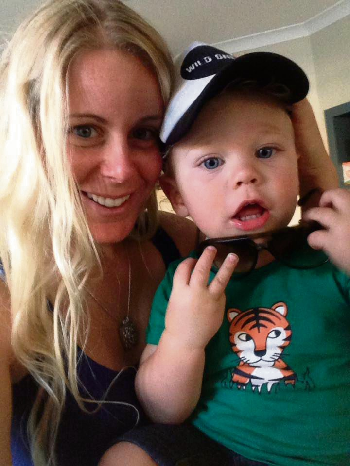 Francie Jones with her son Kai Rigby, safe and sound.