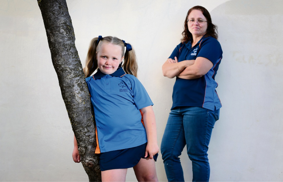 Jordan Brown (6) of Midland and Guide Leader Lorrell Watt of Swan View. Girls who enjoy hiking, learning, mystery cooking and sleepovers are encouraged to join Midland Butterfly Girl Guides. Picture: David Baylis