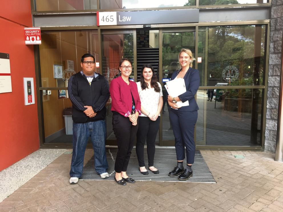 Murdoch University director of Clinical Legal Programs Anna Copeland (second from left) with students Ferhan Siddiqi,  Shauna O'Neill and Lisa van Toor.