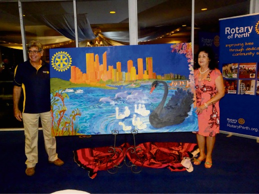 Rotary Club of Perth president Larry Hirsch (left) with Leonie Dobrowolski and her painting.