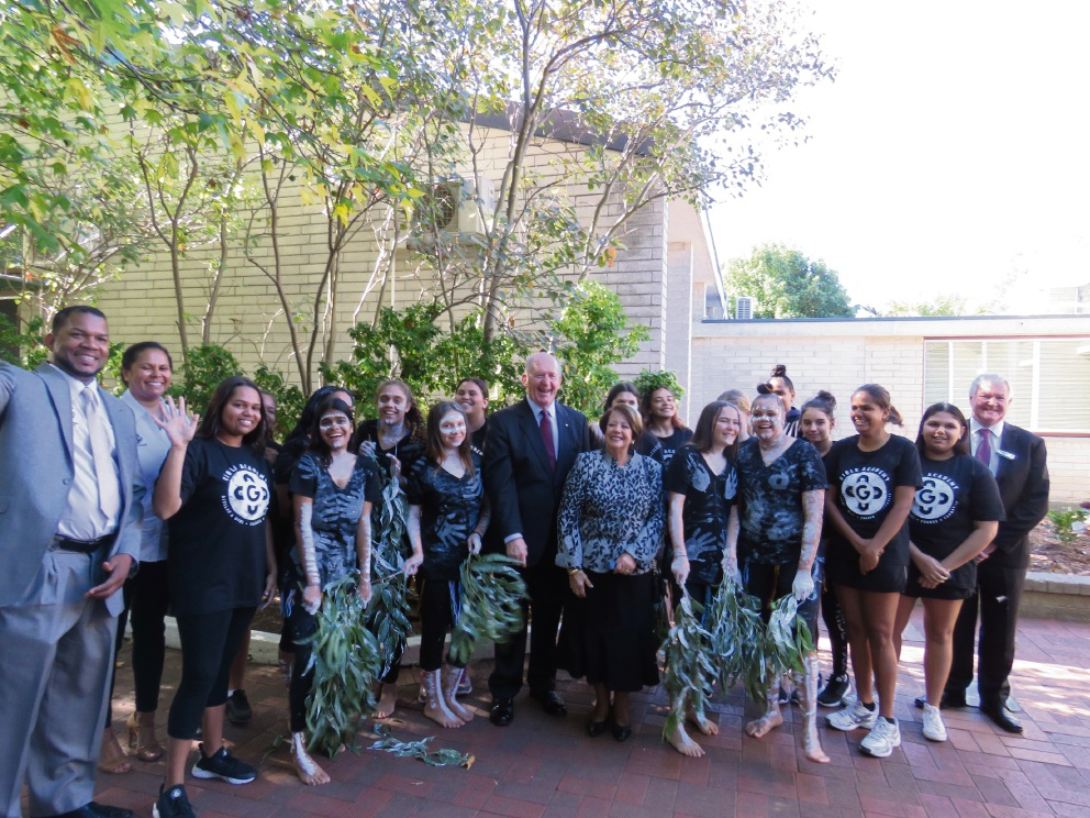 Ricky Grace Girls Academy chief executive and founder, Balga Girls Academy program manager Danika Eades, Their Excellencies the Governor-General and Lady Cosgrove, Balga SHS principal Geoff Harris and Girls Academy students.