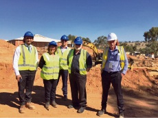 WA Country health Service staff members visit the Northam Health Service construction site. From left: Alistair Pinto, Jennifer Lee, Trenton Greive, Shane Matthews and Graeme Leverington.