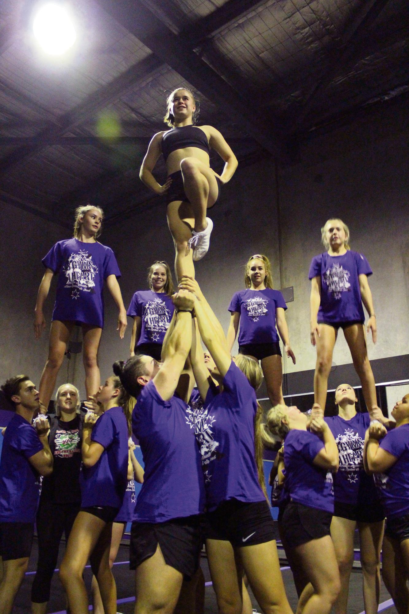 Chloe Ingham trains with her team members.