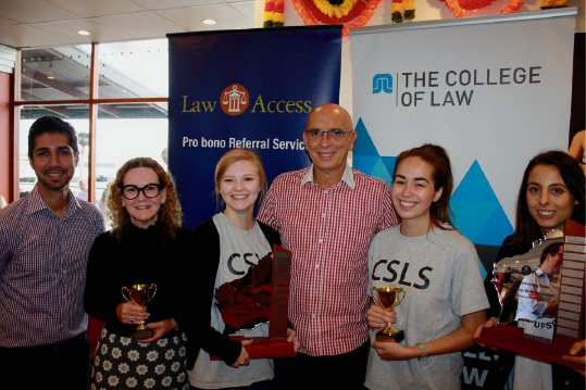 Law Access chairman Adam Ebell, WA Industrial Relations Commission acting president Jennifer Smith, Curtin Student Law Society president Zemyna Kuliukas, Attorney John Quigley, law student Whitney Corfield and Catherine Berbatis of MinterEllison.