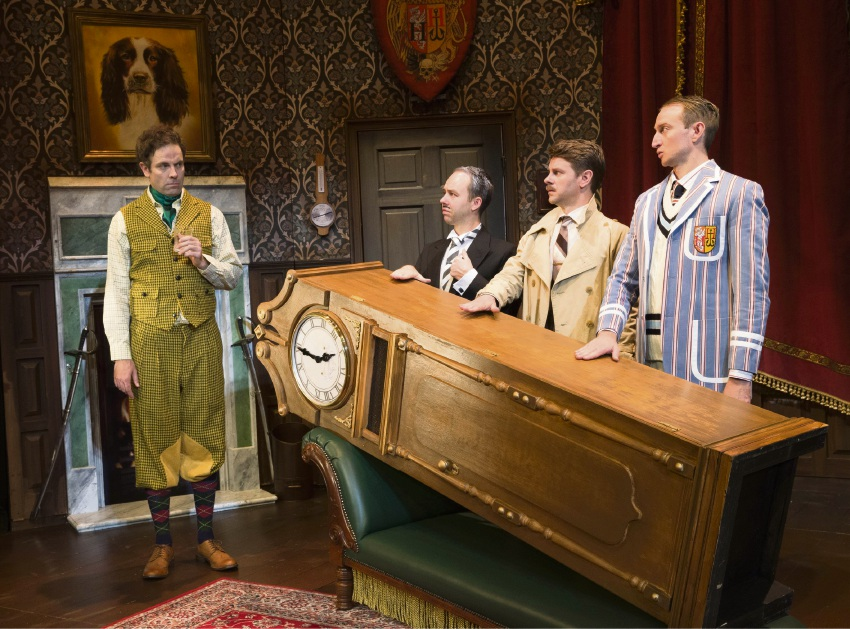 Luke Joslin (left) in The Play That Goes Wrong.