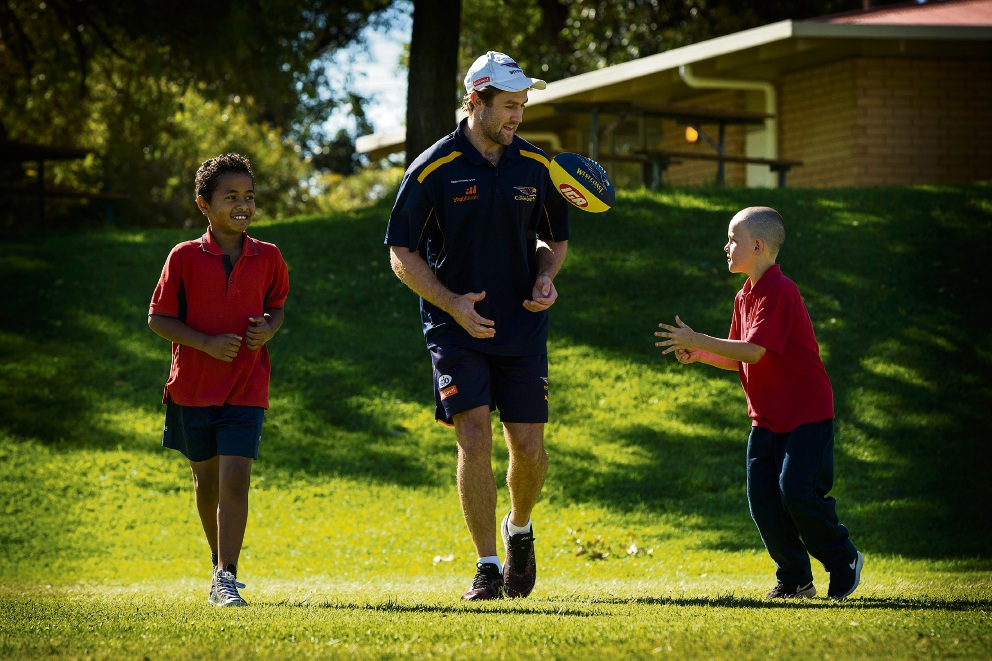 South Lake students Hunter Shepherd and Mikaeli Ma-Ake with West Coast Eagles player Mark Hutchings (centre). Picture: Will Russell d468993