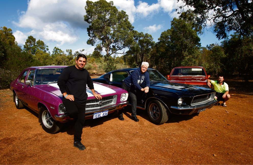Daniel Catalaco with his HQ 1973, Rob Reed with his 1967 Mustang Fastback and Matthew Jolley with his HK 1969.  Picture: Marie Nirme        www.communitypix.com.au   d469234