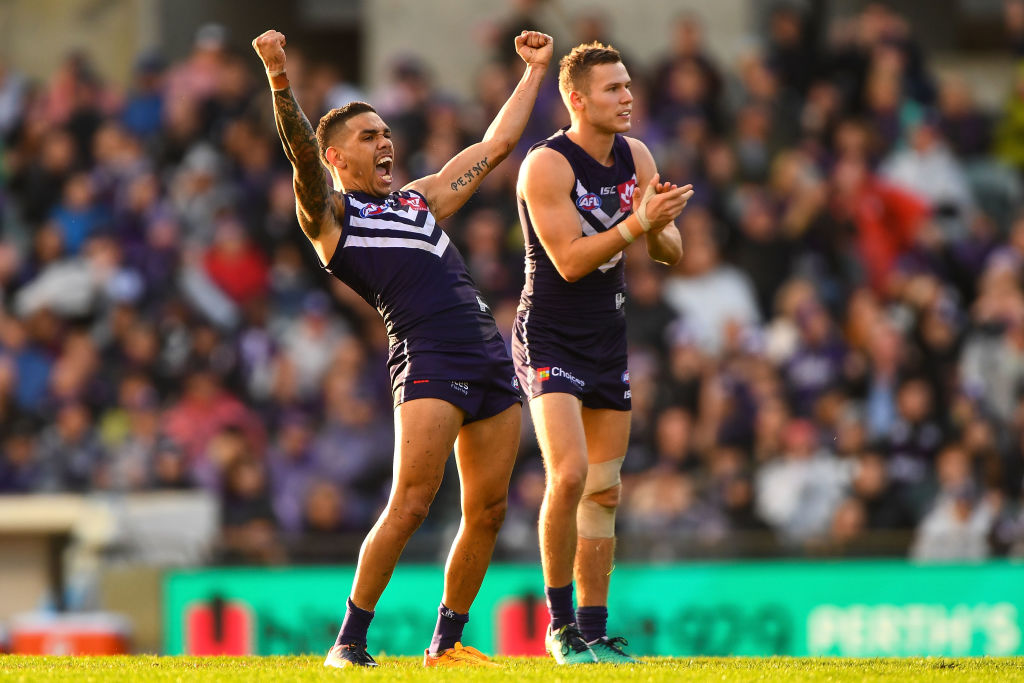 Michael Walters of the Dockers celebrates a goal against Carlton. Picture: Daniel Carson/AFL Media/Getty Images