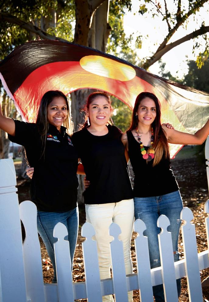 Miss Naidoc entrants Simone Narkle,  Jasmine Corbett and eventual Kearah Ronan. Picture: David Baylis d469260