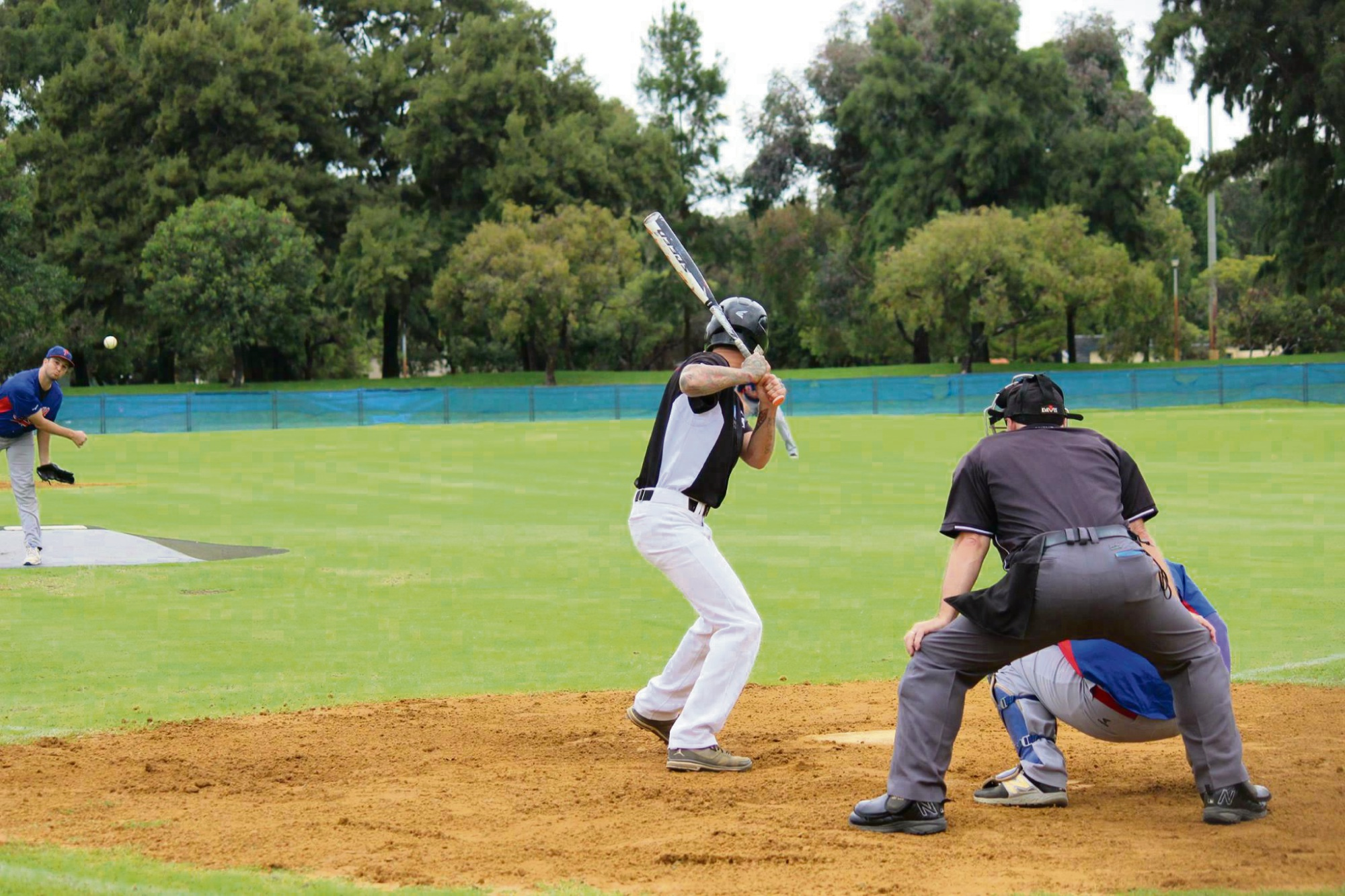 Action from the A-grade elimination final. Picture: Swan Districts Baseball Club