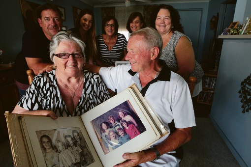 Barbara Crick and her brother Bruce Stubblety (at back) with family members Darren Crick, Angela Johns, Sandie Drysdale, Annette Crick and Deborah Warren. Picture: Bruce