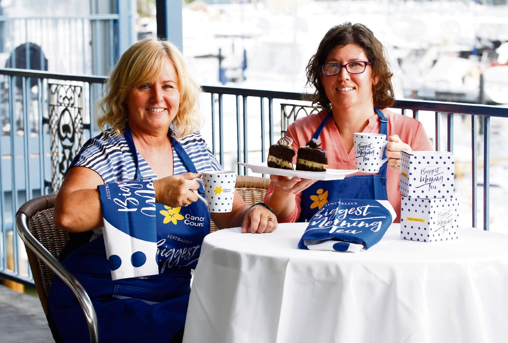 Rebecca Goncalves (right) is hosting a Biggest Morning Tea on May 25 and has teamed up with Peta Brookes Smith at East Fremantle Yacht Club for the event. Picture: Marie Nirme