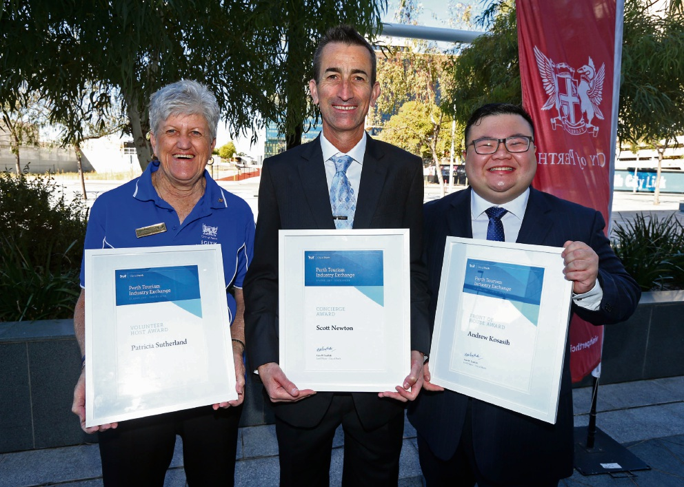 Patricia Sutherland, Scott Newton and Andrew Kosasih won Perth Tourism Industry awards at Perth Arena.