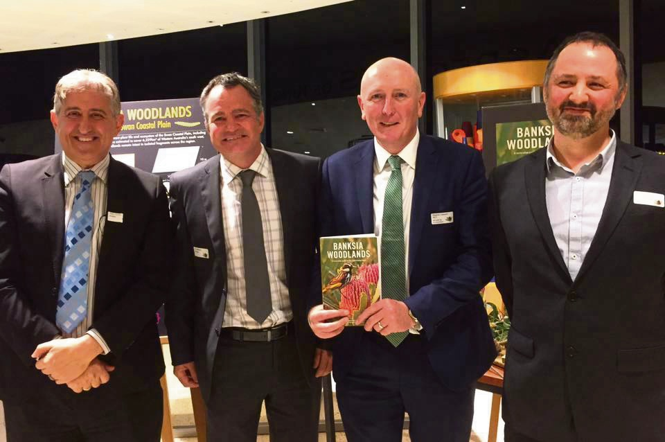 WA Biodiversity Science Institute CEO Peter Zurzolo, Vern Newton from Hanson Construction Materials, Stephen Dawson and Kings Park Biodiversity Conservation Centre director of science Ben Miller.