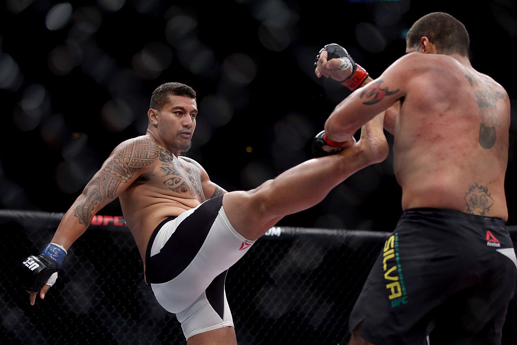 Soa Palelei (left) fights Antonio Silva of Brazil in their heavyweight bout during the UFC 190 in 2015. Picture: Matthew Stockman/Getty Images