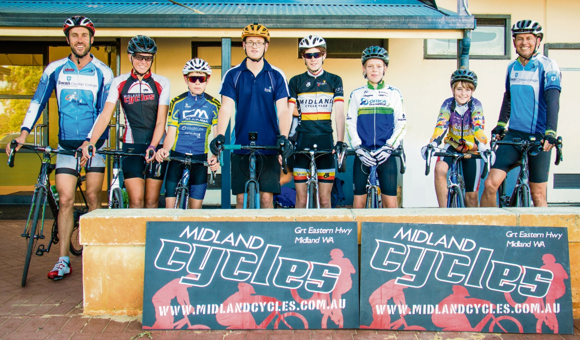 The Swan Christian Cycling Club get together every Tuesday to promote a healthy and active lifestyle. Left to right: Ben Dallin, Stefanie Van Amerongen (Midland Cycles), Cooper Bates, Oliver Tyler, Mitchell Spencer, Nicholas Bolt, Kye Schorer and Peter Bolt.